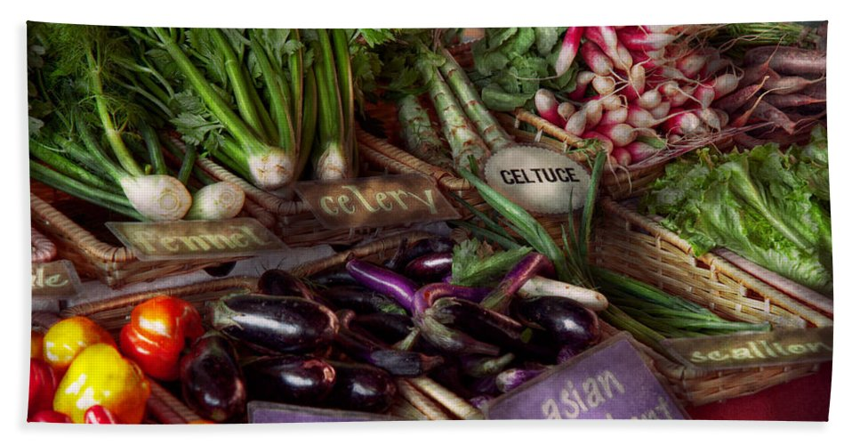 Vegetable Beach Towel featuring the photograph Food - Vegetables - Very Fresh Produce by Mike Savad