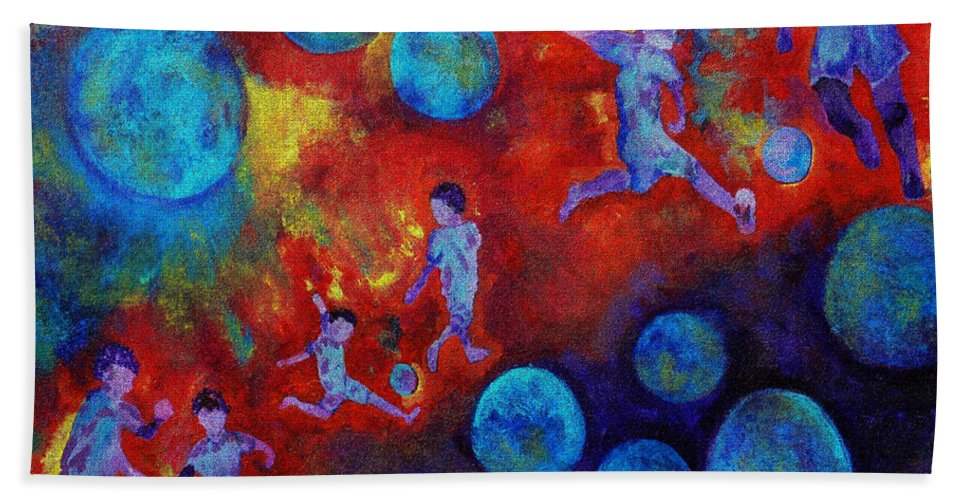 Soccer Beach Towel featuring the digital art Football Dreams by Claire Bull