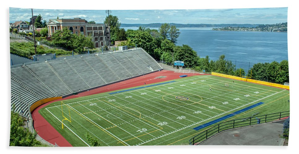Football Field Beach Towel featuring the photograph Football Field By The Bay by Tikvah's Hope