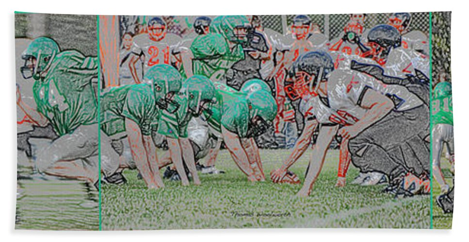 Composite Beach Towel featuring the photograph Football Playing Hard 3 Panel Composite Digital Art 01 by Thomas Woolworth