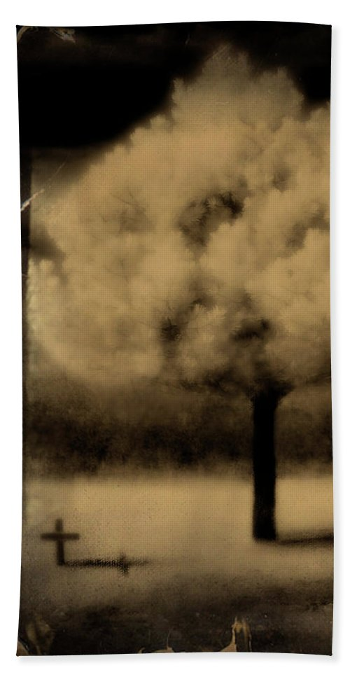 Infrared Beach Towel featuring the photograph Forbidding Shadows by Gothicrow Images