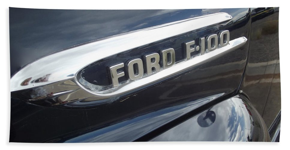 Ford Beach Towel featuring the photograph Ford F-100 Emblem by Jennifer Lavigne