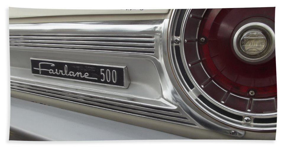 Fairlane 500 Beach Towel featuring the photograph Ford Fairlane 500 Emblem by Jennifer Lavigne