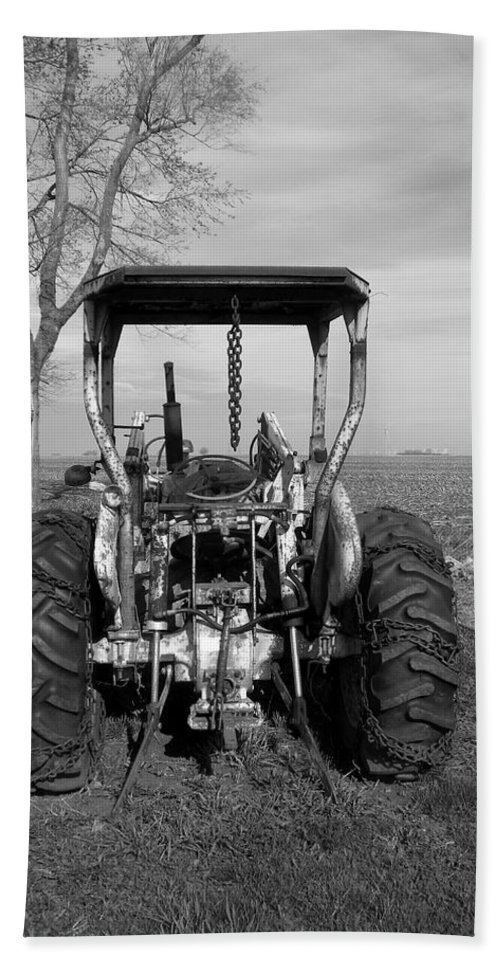 Transportation Beach Towel featuring the photograph Ford Tractor Rear View by Thomas Woolworth