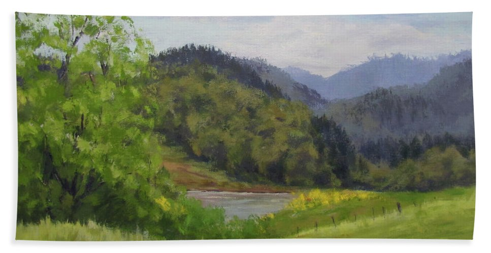 Pond Beach Towel featuring the painting Ford's Pond In Spring by Karen Ilari
