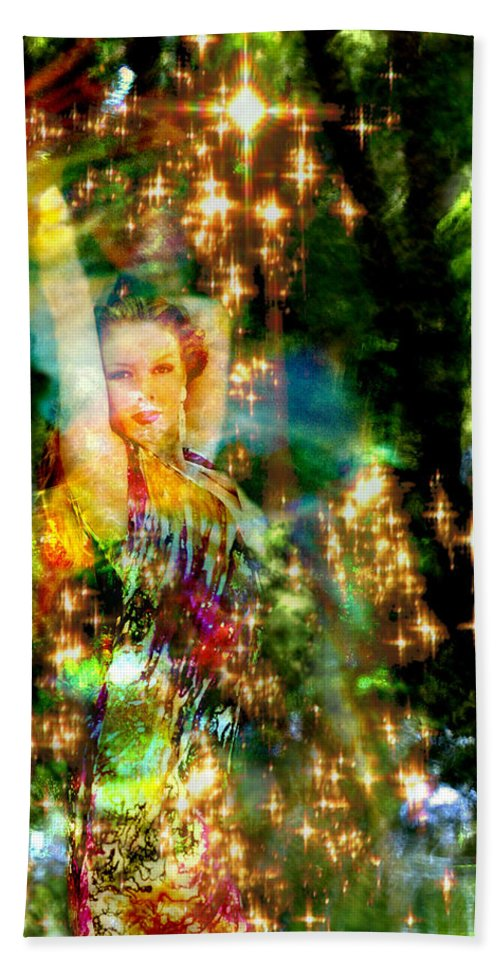 Forest Beach Towel featuring the digital art Forest Goddess 4 by Lisa Yount