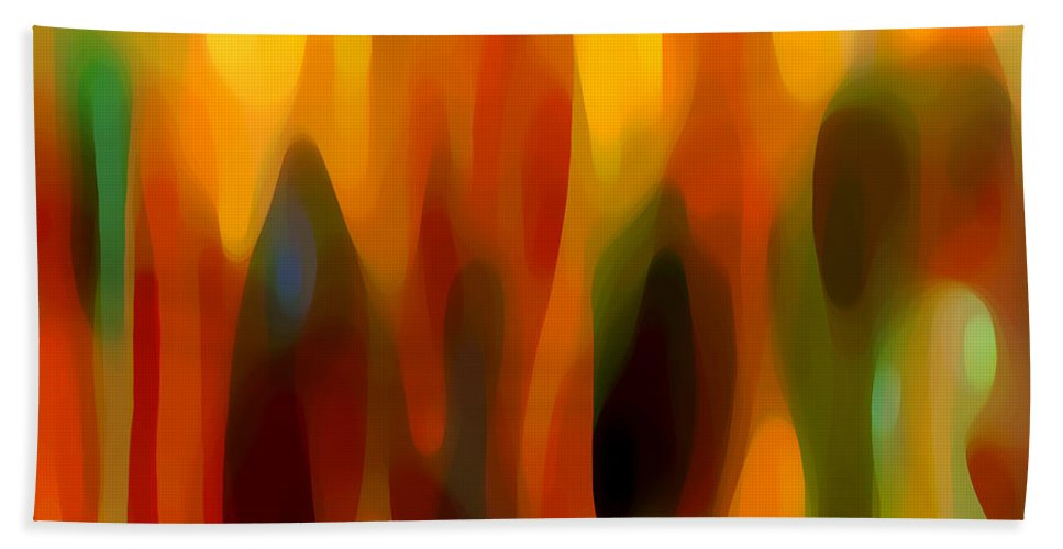 Abstract Beach Towel featuring the painting Forest Sunlight Horizontal by Amy Vangsgard