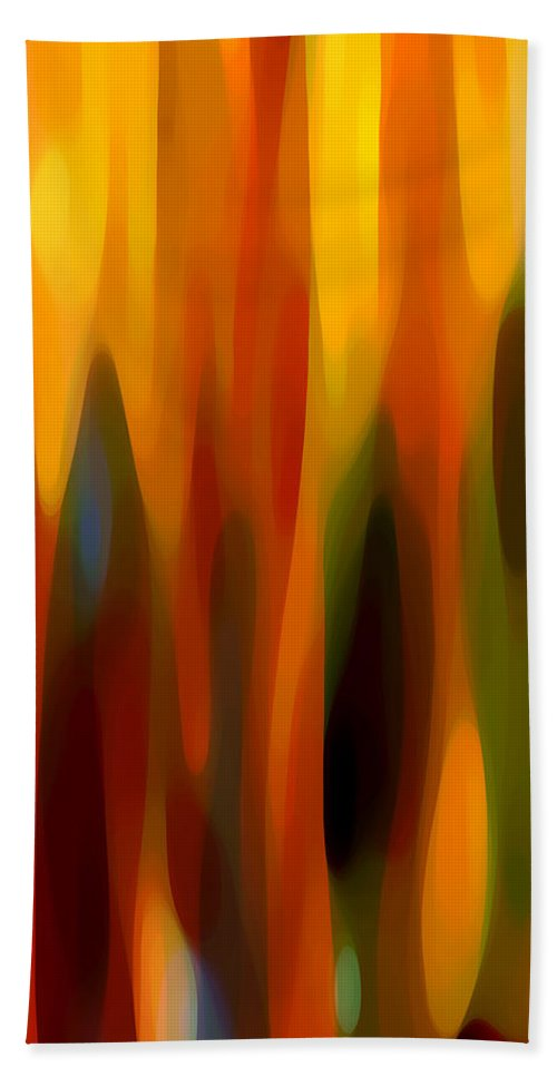 Abstract Beach Towel featuring the painting Forest Sunlight Vertical by Amy Vangsgard