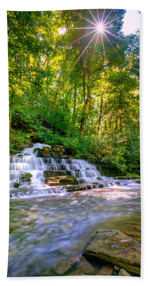 Beautiful Beach Towel featuring the photograph Forest Waterfall by Alexey Stiop
