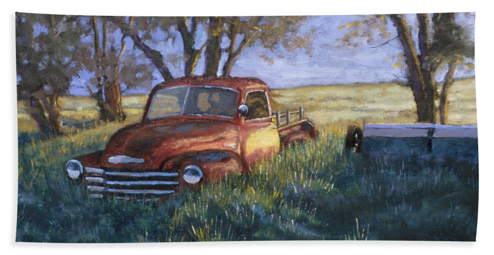 Pickup Truck Beach Towel featuring the painting Forgotten But Still Good by Jerry McElroy