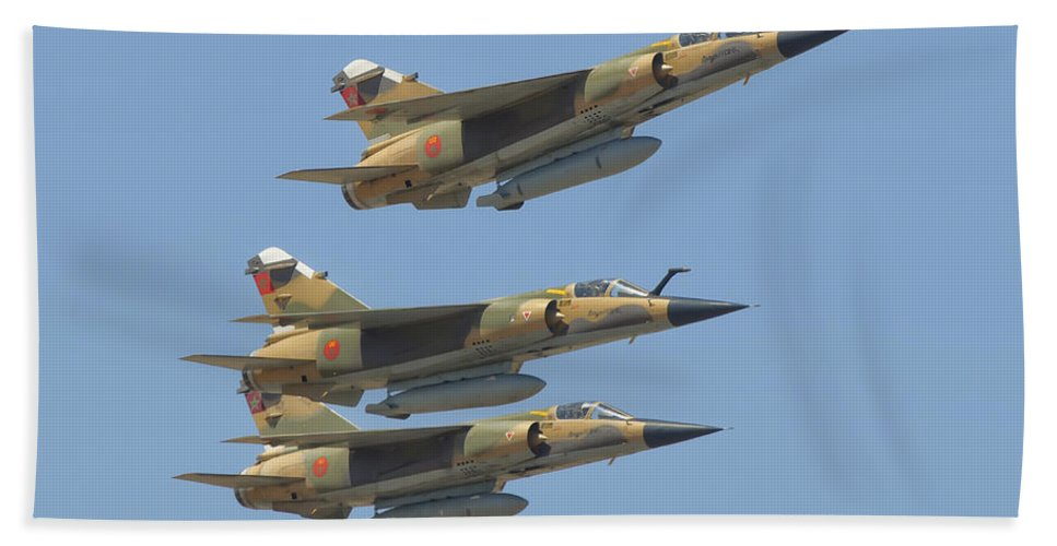 Horizontal Beach Towel featuring the photograph Formation Of Royal Moroccan Air Force by Giovanni Colla