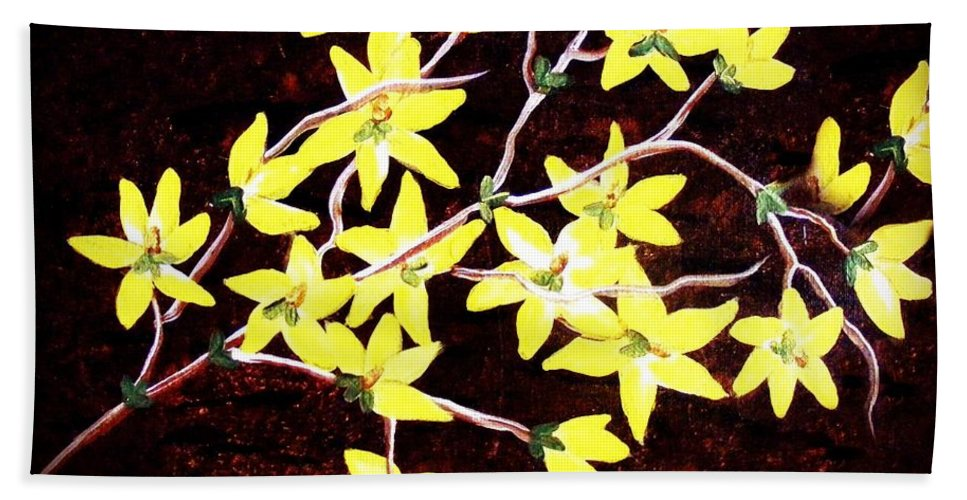 Forsythia Branches Beach Towel featuring the painting Forsythia Branches by Barbara Griffin