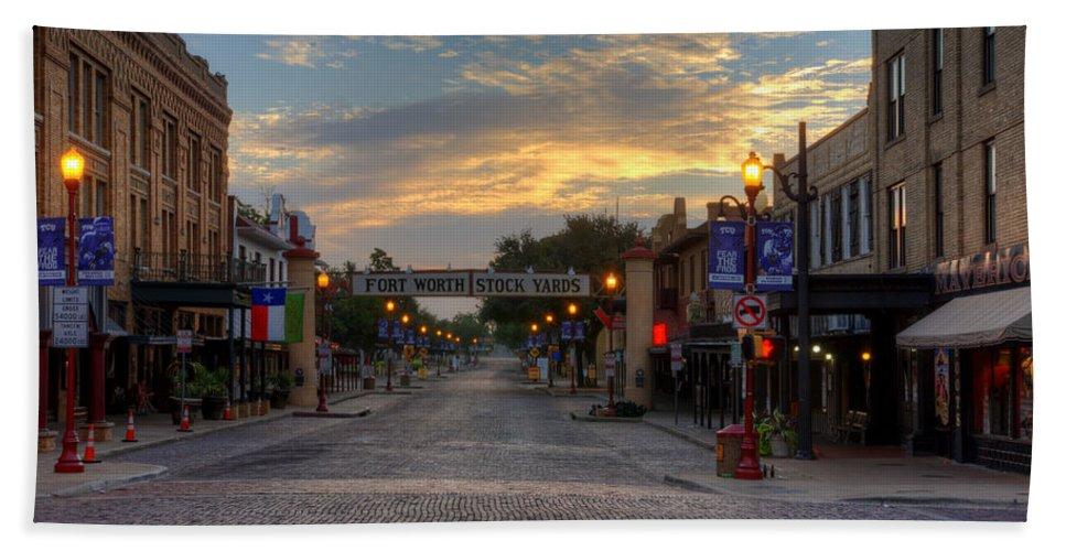 Fort Worth Stockyards Beach Towel featuring the photograph Fort Worth Stockyards Sunrise by Jonathan Davison