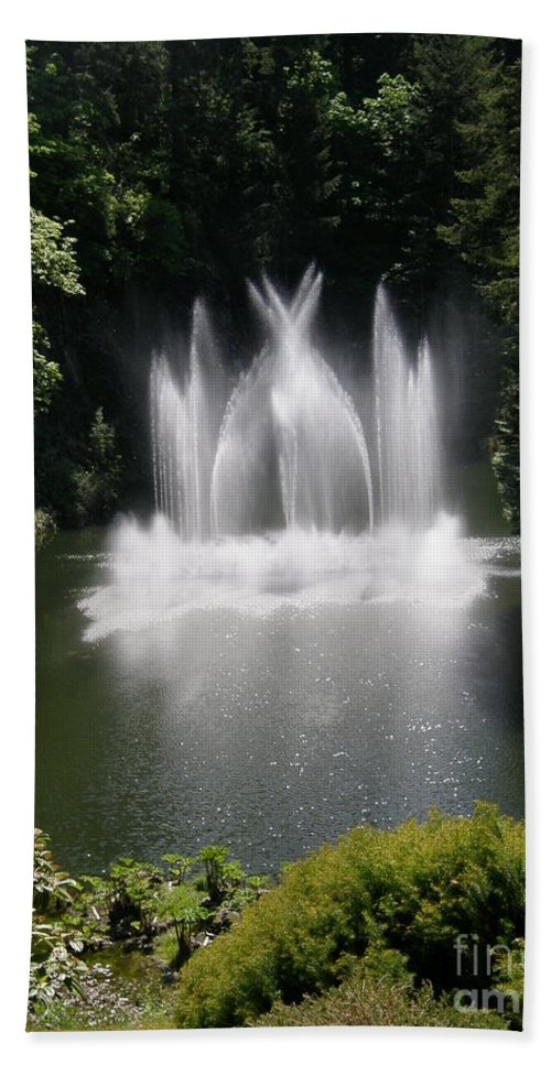 Fountain Beach Towel featuring the photograph Fountain In Lake by Bev Conover