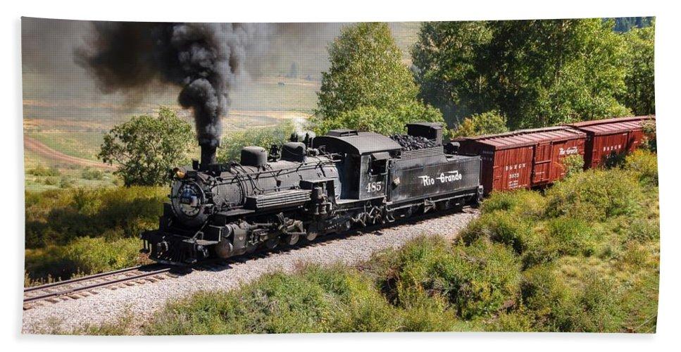 Steam Train Photographs Beach Towel featuring the photograph Four Percent Grade Part 1 by Ken Smith