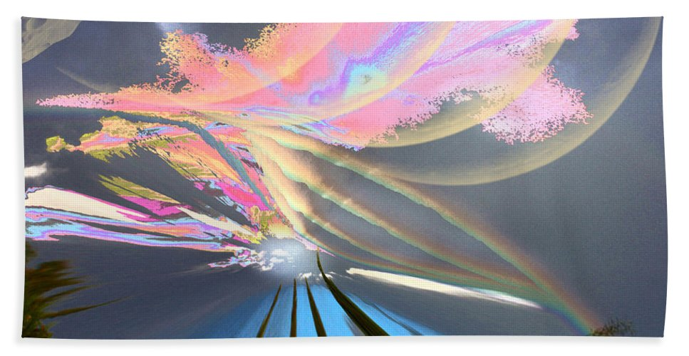 Augusta Stylianou Beach Towel featuring the digital art Four Planets by Augusta Stylianou