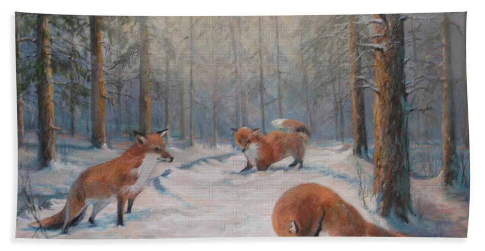 Nature Beach Towel featuring the painting Forest Games by Donna Tucker