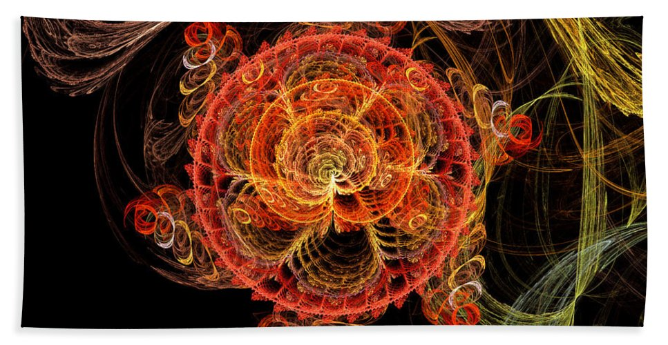 Abstract Beach Towel featuring the digital art Fractal - Abstract - Mardi Gras Molecule by Mike Savad