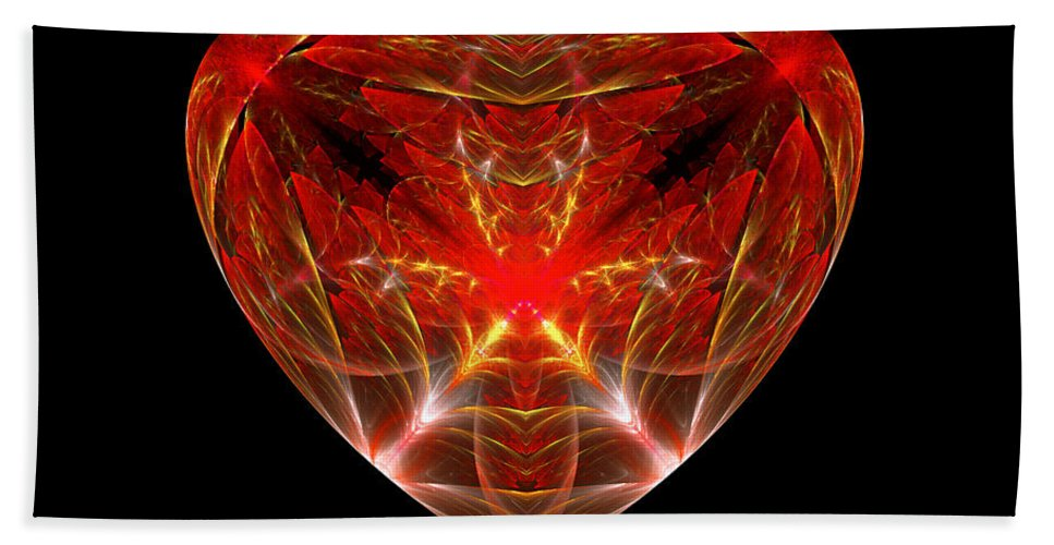 Abstract Beach Towel featuring the photograph Fractal - Heart - Open Heart by Mike Savad