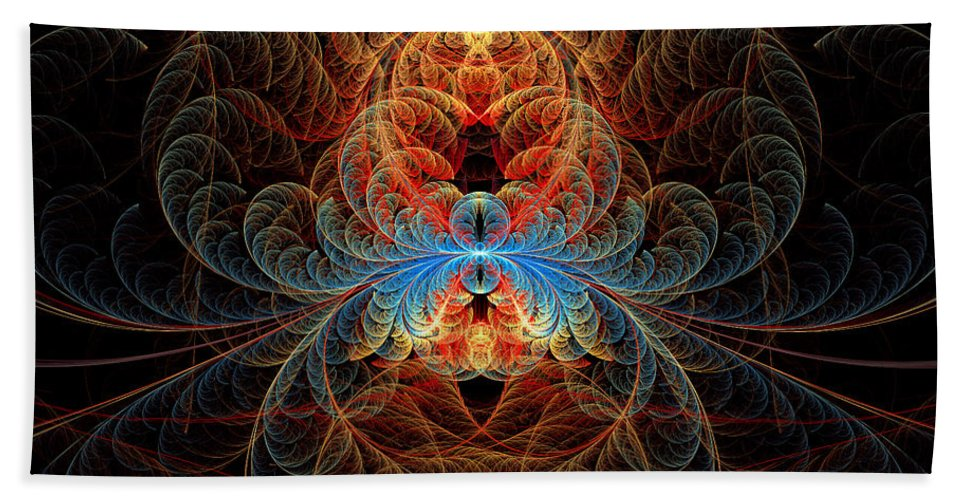 Fractal Beach Towel featuring the digital art Fractal - Insect - Black Widow by Mike Savad