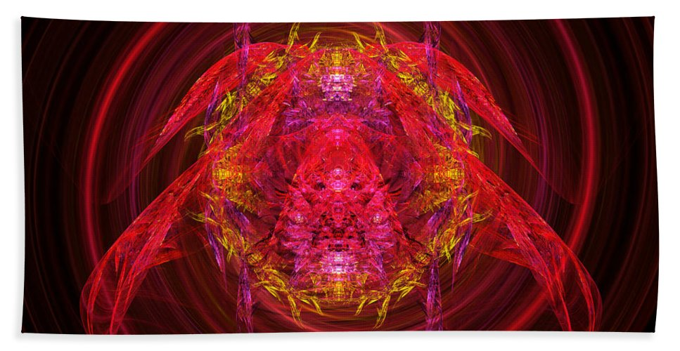 Abstract Beach Towel featuring the digital art Fractal - Insect - Jeweled Scarab by Mike Savad