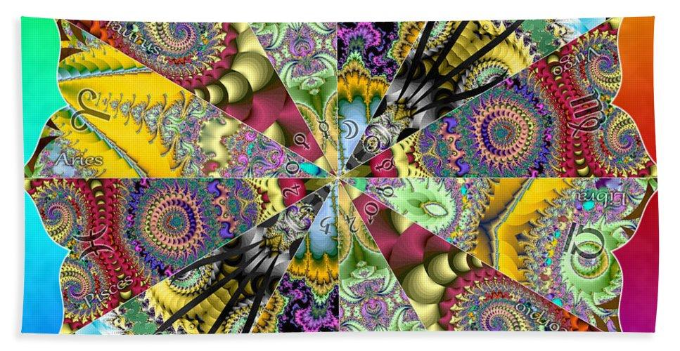 Sacredlife Mandalas Beach Towel featuring the digital art Fractal Lotus Zodiac by Derek Gedney