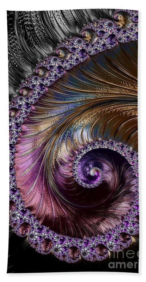 Fractal Beach Towel featuring the digital art Fractal Spiral 2 - A Fractal Abstract by Ann Garrett