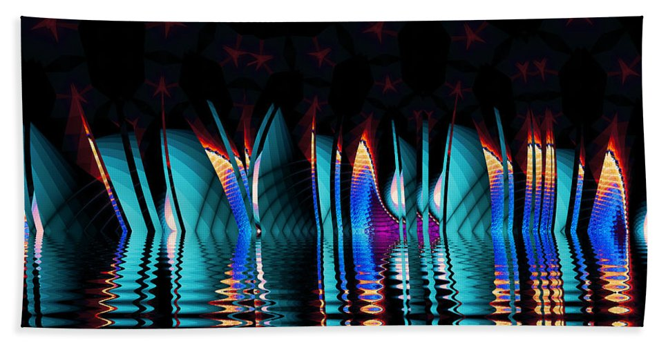 Fractal Beach Towel featuring the digital art Fractopolis Skyline At Night by Richard Kelly