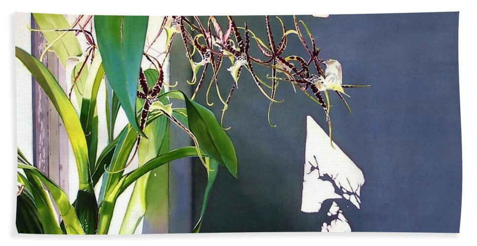 Plant Beach Towel featuring the painting Frailty by Denny Bond