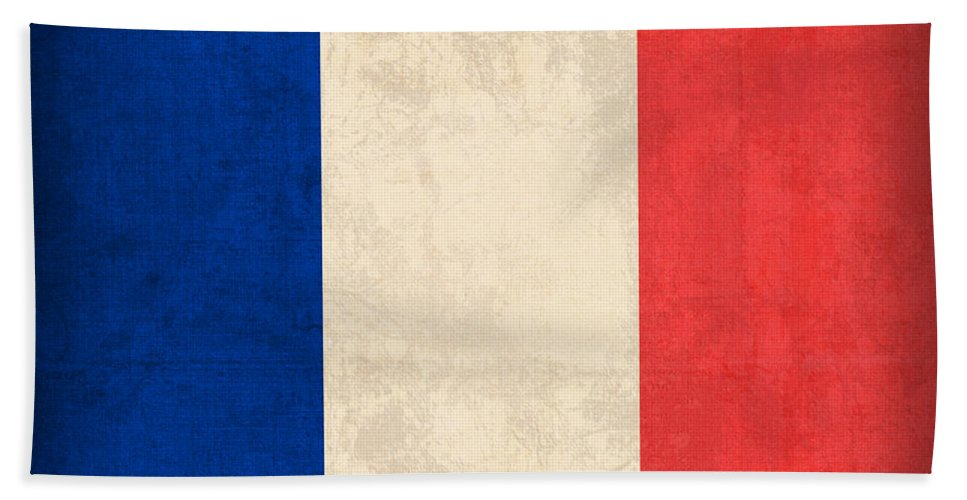 France Flag Paris Marseilles French Europe Beach Towel featuring the mixed media France Flag Distressed Vintage Finish by Design Turnpike