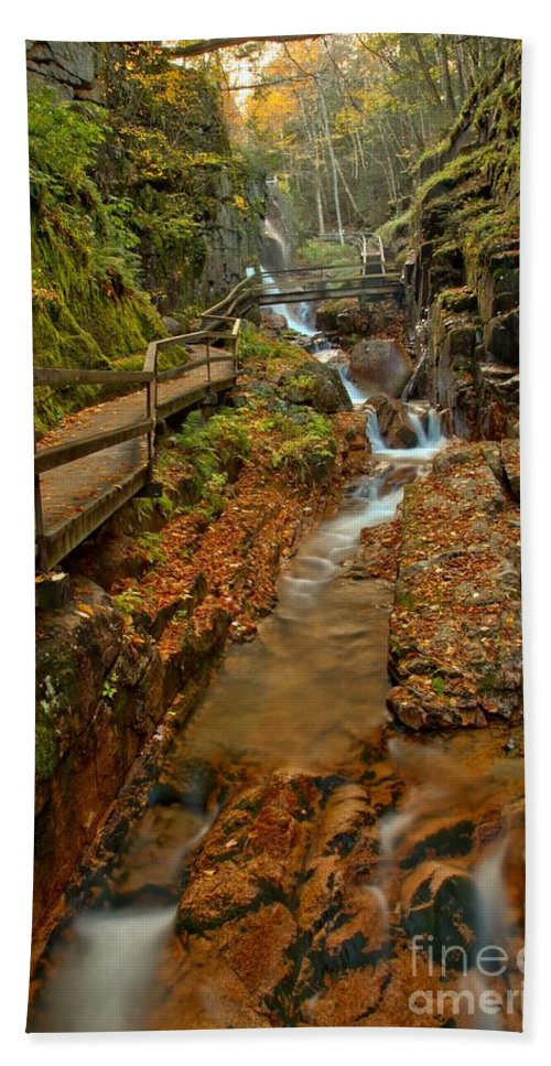 Flume Gorge Beach Towel featuring the photograph Franconia Notch Lush Greens And Rushing Waters by Adam Jewell