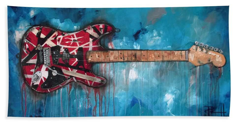 cd51f621843 Eddie Van Halen Beach Towel featuring the painting Frankenstrat by Sean  Parnell