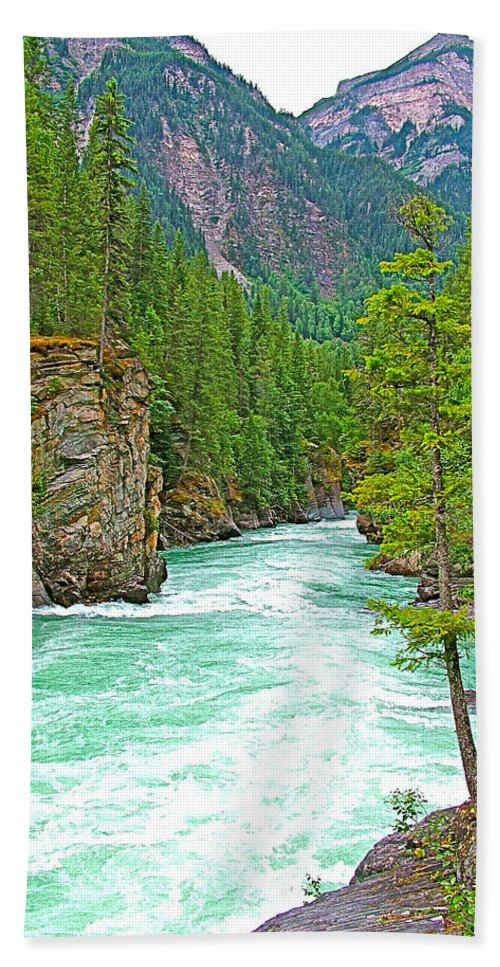 Fraser River Beyond Overlander Falls Along Yellowhead Highway Beach Towel featuring the photograph Fraser River Beyond Overlander Falls Along Yellowhead Highway-bc by Ruth Hager