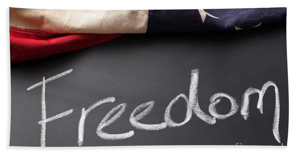American Beach Towel featuring the photograph Freedom Sign On Chalkboard by Leslie Banks