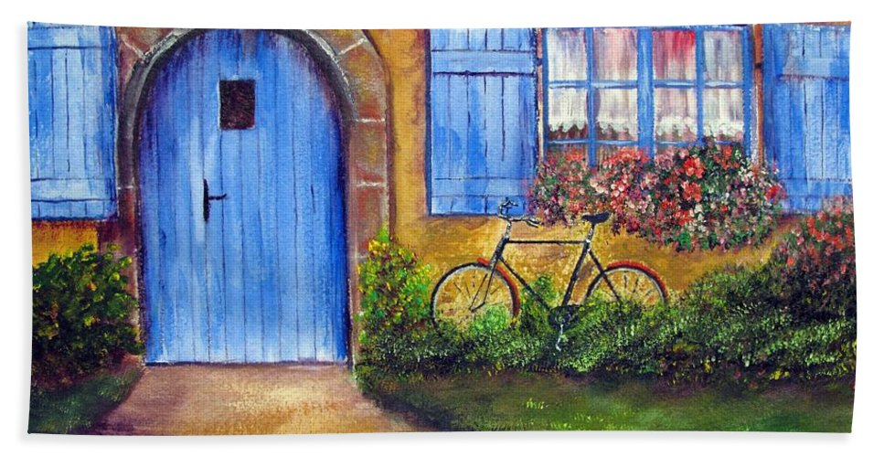 French Beach Towel featuring the painting French Cottage by Loretta Luglio