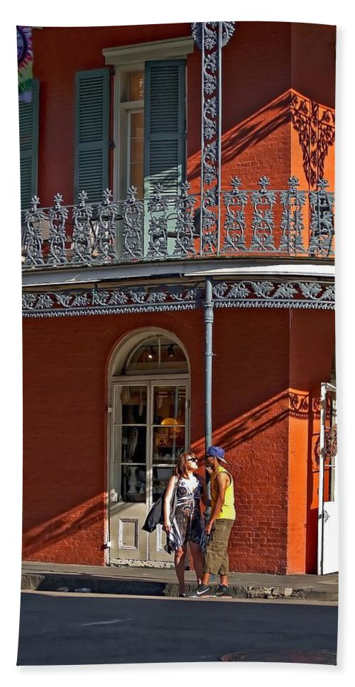 French Quarter Beach Towel featuring the photograph French Quarter Tete A Tete by Steve Harrington