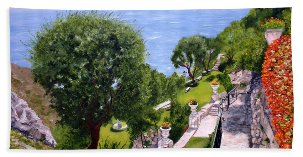 Landscape Beach Towel featuring the painting French Riviera by Graciela Castro
