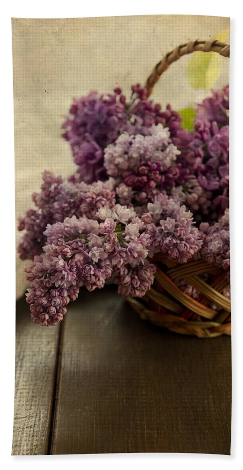 Still Life Beach Towel featuring the photograph Fresh Lilacs In Brown Basket by Jaroslaw Blaminsky