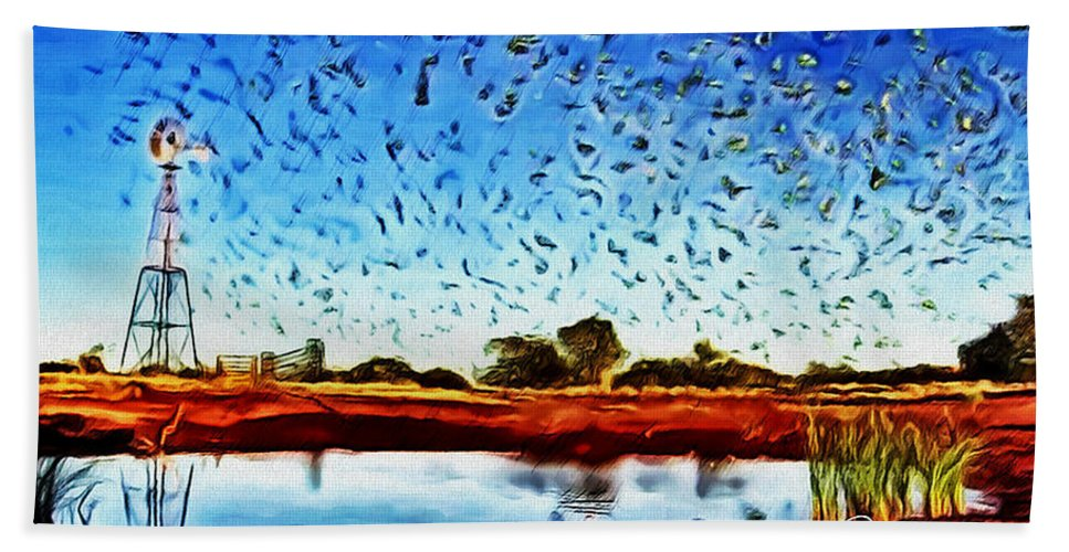 Group Of Birds Flying Beach Sheet featuring the painting Fresh Mill by Withintensity Touch