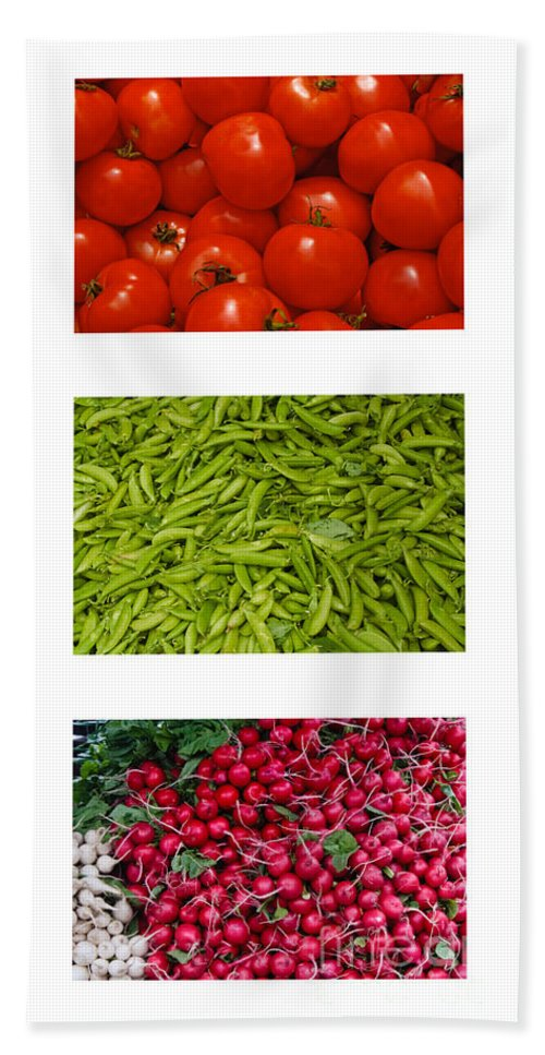 Tomato Beach Towel featuring the photograph Fresh Vegetable Triptych by Thomas Marchessault