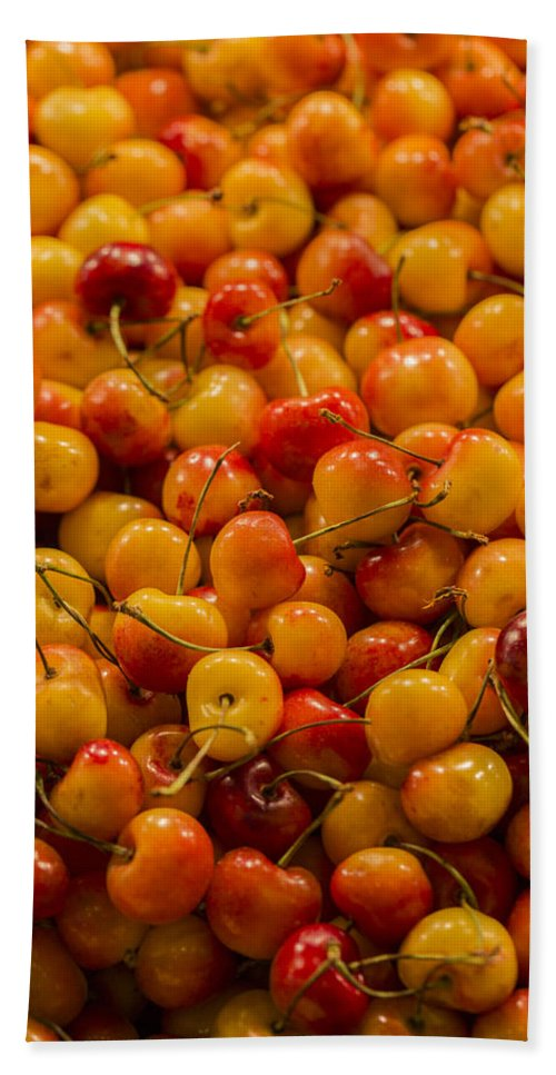 Cherry Beach Towel featuring the photograph Fresh Yellow Cherries by Scott Campbell