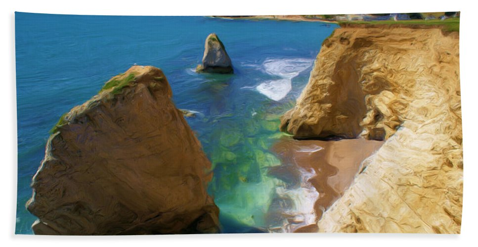 Coast Beach Towel featuring the digital art Freshwater Bay by Ron Harpham