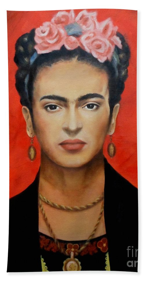 Frida Beach Towel featuring the painting Frida Kahlo by Yelena Day