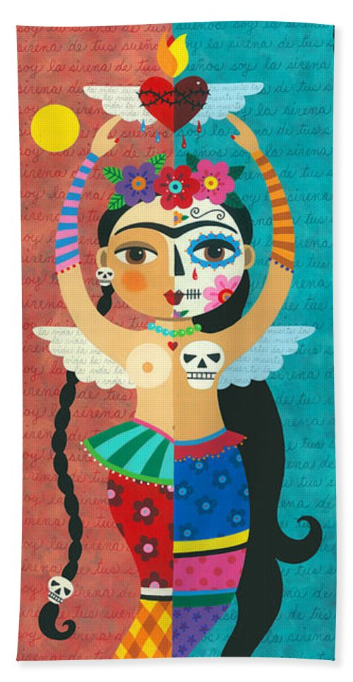Frida Beach Towel featuring the painting Frida Kahlo Mermaid Angel with Flaming Heart by LuLu Mypinkturtle