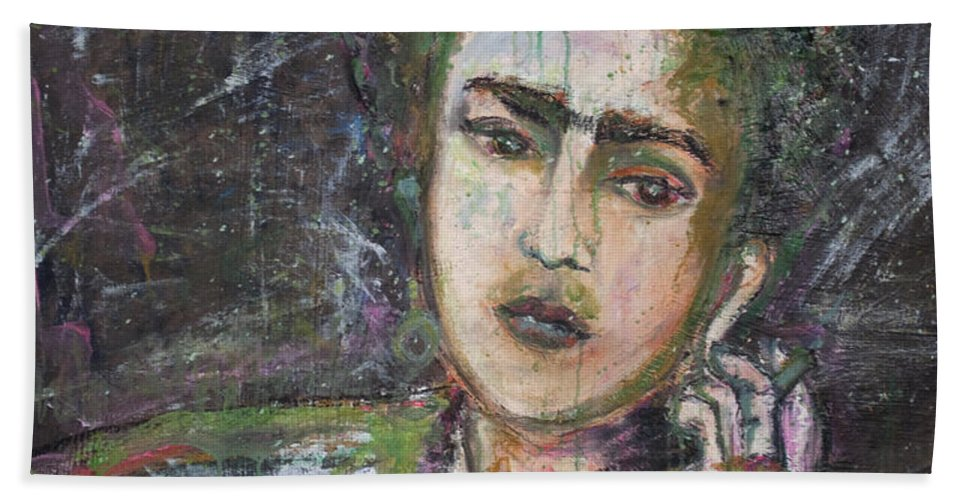 Frida Kahlo Beach Towel featuring the painting Frida Y Cigarrillos by Laurie Maves ART