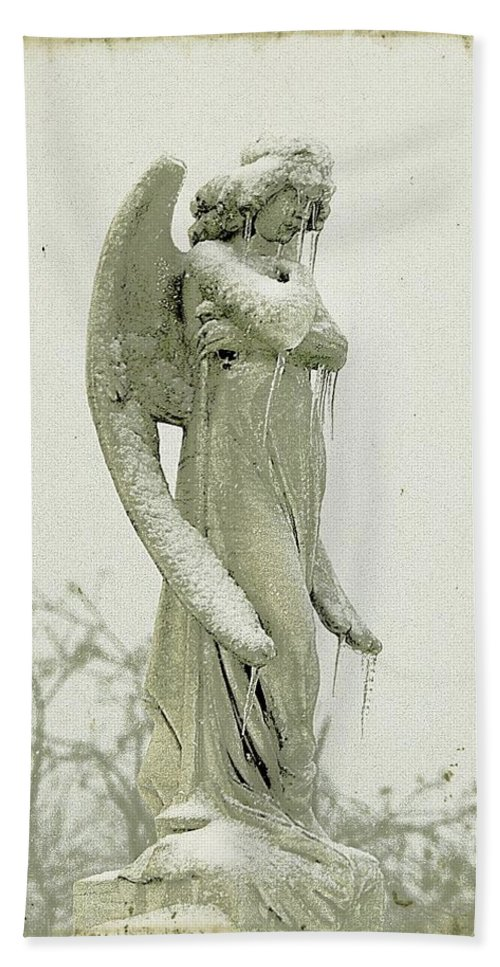 Ice Beach Towel featuring the photograph Frigid Angel by Gothicrow Images