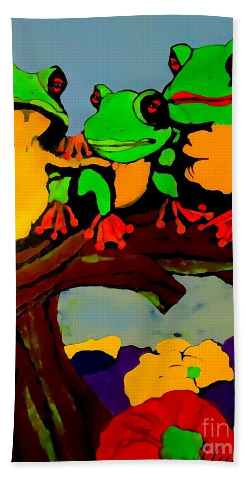 Frog Beach Towel featuring the painting Frog Family Hanging Out On A Limb by Saundra Myles