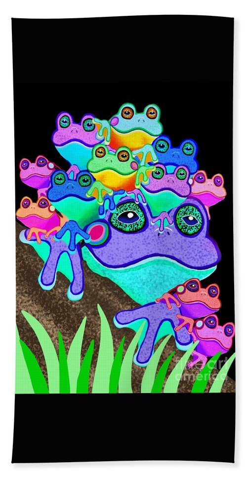 Frogs Beach Towel featuring the painting Frog Family Too by Nick Gustafson