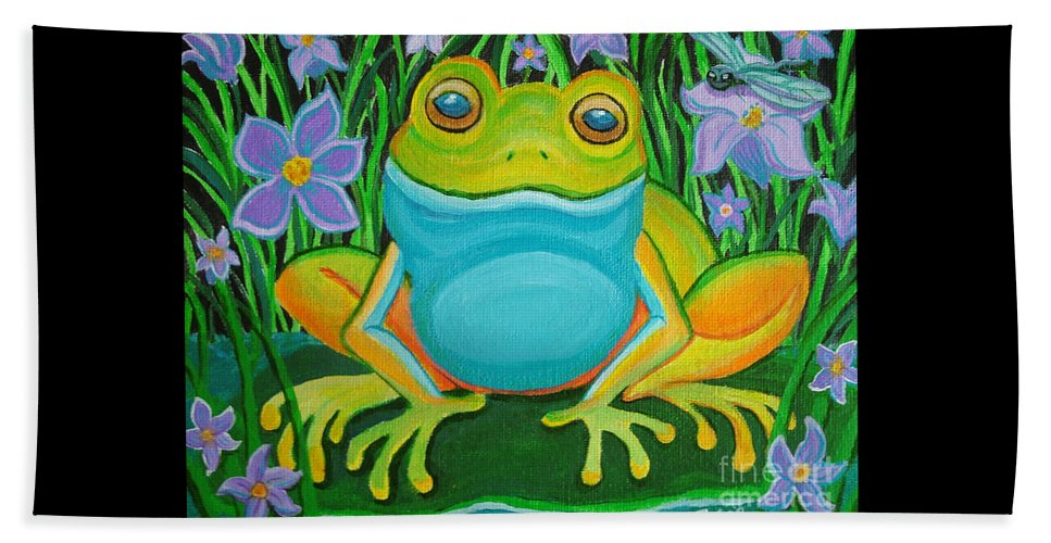 Ffrog Art Beach Towel featuring the painting Frog On A Lily Pad by Nick Gustafson