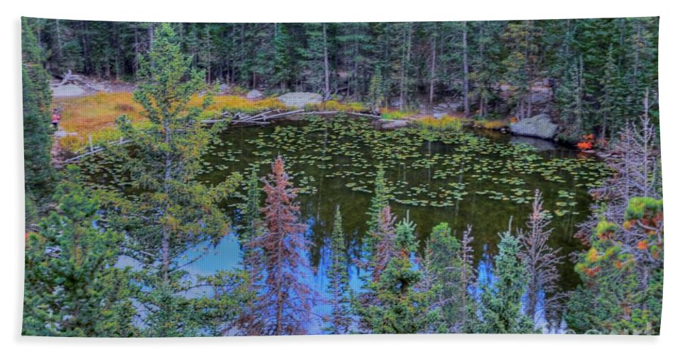 #nymph.#lake #rocky # Rocky $mountain Beach Towel featuring the photograph From Above by Kathleen Struckle